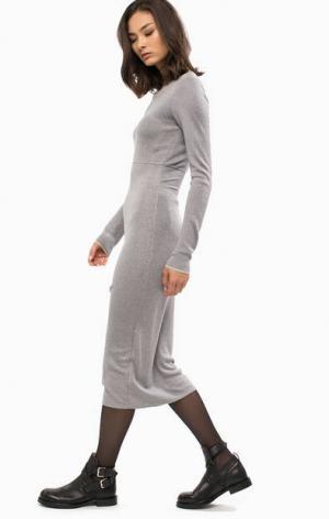 Серебристое трикотажное платье с длинными рукавами Patrizia Pepe. Цвет: серебряный
