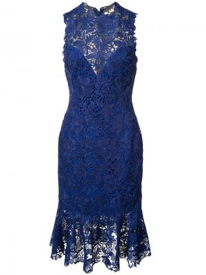 Кружевное платье Monique Lhuillier. Цвет: синий