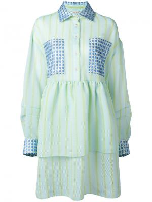 Платье-рубашка в полоску Natasha Zinko. Цвет: синий