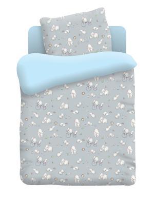 Комплект постельного белья в кроватку поплин Слоники Непоседа. Цвет: серый, голубой