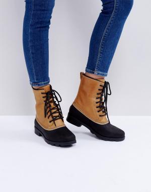 Sorel Бежевые водонепроницаемые кожаные ботинки Emelie 1964. Цвет: бежевый