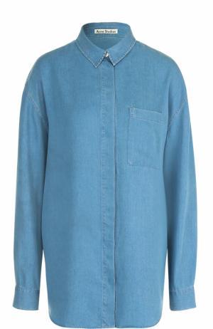 Удлиненная джинсовая блуза прямого кроя Acne Studios. Цвет: синий