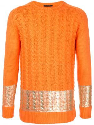 Джемпер вязки косичкой Guild Prime. Цвет: жёлтый и оранжевый