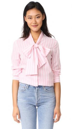 Блуза Sophia с завязками на вырезе RUKEN. Цвет: розовая полоса