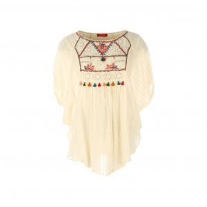 Блузка с короткими рукавами и вышивкой RENE DERHY. Цвет: экрю
