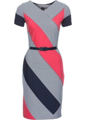 Платье (темно-синий/белый/коралловый в горизонтальную полоску) bonprix. Цвет: темно-синий/белый/коралловый в горизонтальную полоску
