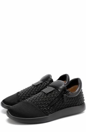 Кроссовки Runner Studs без шнуровки с кожаной отделкой Giuseppe Zanotti Design. Цвет: черный
