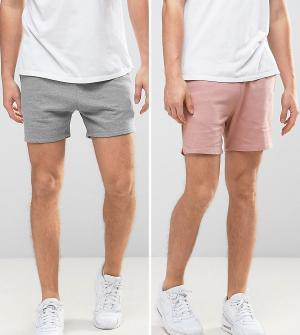 ASOS 2 пары трикотажных шортов (серые меланжевые/розовые). Цвет: мульти