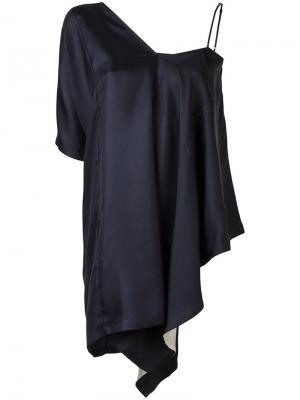 Драпированная блузка с асимметричными рукавами Maison Margiela. Цвет: синий