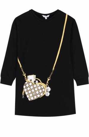 Трикотажное мини-платье с принтом Marc Jacobs. Цвет: черный