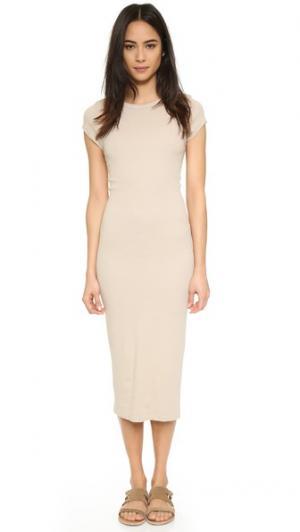 Миди-платье из тонкой ткани Enza Costa. Цвет: светло-серо-бежевый