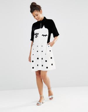 The WhitePepper Платье-рубашка с бархатной отделкой. Цвет: черный