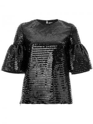 Puffed sleeve sequin top Huishan Zhang. Цвет: чёрный