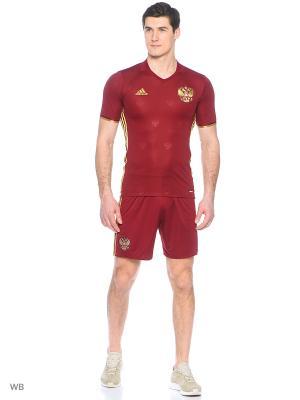 Футболка спортивная Adidas. Цвет: бордовый, золотистый