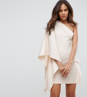 ASOS Tall Платье мини на одно плечо с рукавом-кейпом PREMIUM. Цвет: розовый