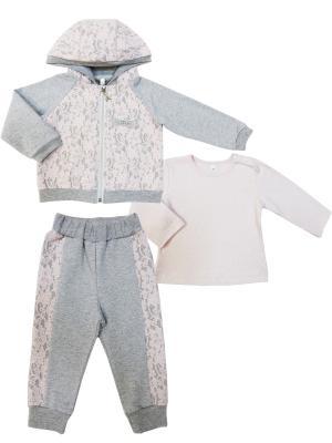 Комплект (джемпер+толстовка с капюшоном+брюки), Парижские каникулы Sonia kids. Цвет: серый, розовый