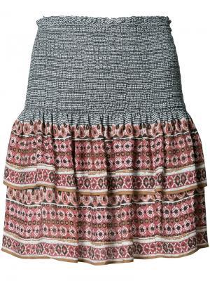 Мини-юбка с оборками и принтом Veronica Beard. Цвет: чёрный