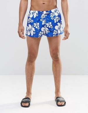 Swells Короткие шорты с принтом. Цвет: темно-синий