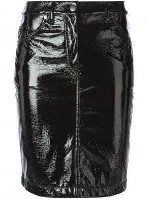 Лакированная юбка  X Tom Greyhound Wanda Nylon. Цвет: чёрный