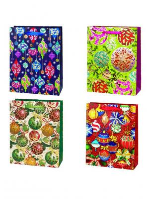 Пакет подарочный бумажный, 26х32х10см, 4 дизайна,4 штуки СНОУБУМ. Цвет: зеленый, красный