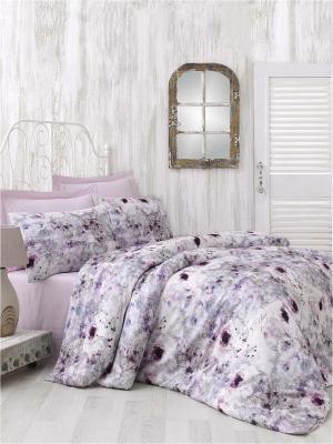 Комплект постельного белья NASRIN сатин, 200ТС, 100% хлопок, цифровая печать, евро ISSIMO Home. Цвет: розовый