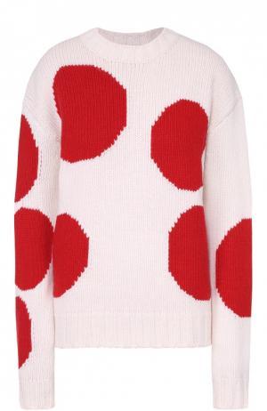 Пуловер прямого кроя с контрастным принтом и круглым вырезом MSGM. Цвет: оранжевый