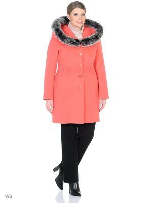 Пальто зимнее Лаура с песцом XP-GROUP. Цвет: коралловый