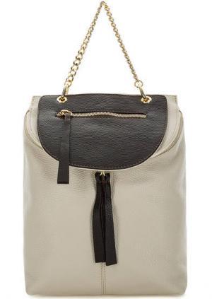 Кожаный рюкзак со съемным карманом Bruno Rossi. Цвет: серый