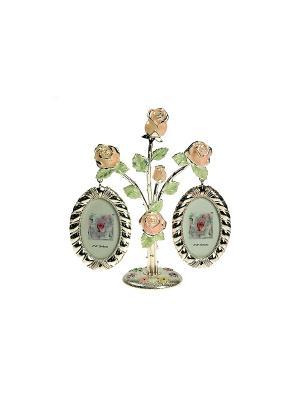 Фоторамка Букет роз на 2 фото Русские подарки. Цвет: серебристый