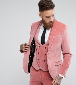 Noose & Monkey Супероблегающий пиджак из бархата. Цвет: розовый