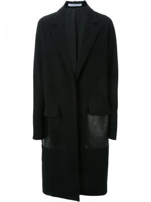 Объемное пальто с контрастными панелями Dion Lee. Цвет: чёрный