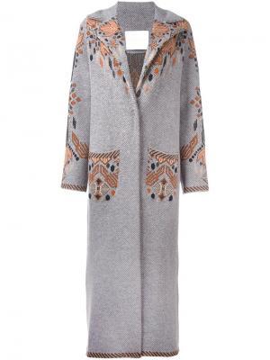 Пальто с этническим мотивом Giada Benincasa. Цвет: серый