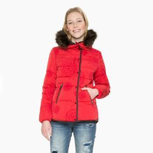 Пальто короткое с капюшоном DESIGUAL. Цвет: красный