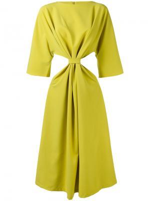 Приталенное платье с вырезными деталями N Duo. Цвет: зелёный
