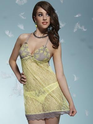 Сорочка KrisLine. Цвет: желтый, лиловый