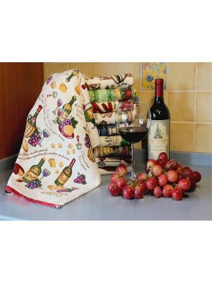 Полотенце для кухни Хлопковый Край. Цвет: бежевый, зеленый, фиолетовый