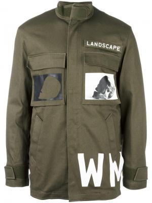 Куртка в стиле милитари с принтом Cy Choi. Цвет: зелёный