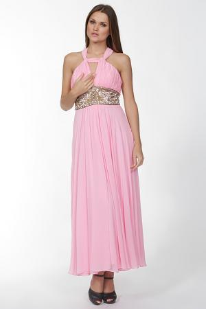 Длинное платье с перекрестием на спине Mona Kalin. Цвет: розовый