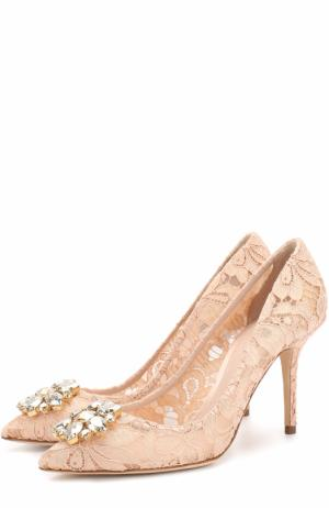 Кружевные туфли Rainbow Lace с брошью Dolce & Gabbana. Цвет: бежевый