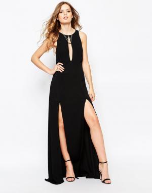 Stone Cold Fox Черное платье макси с двумя разрезами Owen. Цвет: черный