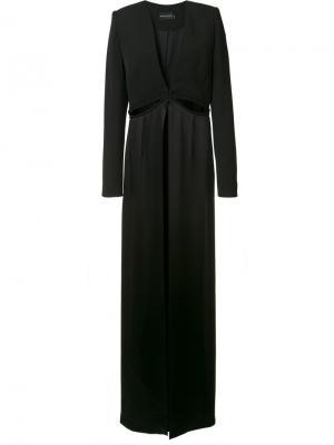 Платье с глубоким V-образным вырезом Brandon Maxwell. Цвет: чёрный