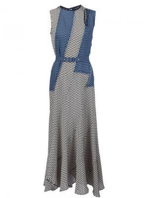 Платье с мелким узором Derek Lam. Цвет: синий
