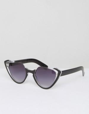 7X Солнцезащитные очки кошачий глаз с прозрачной оправой. Цвет: коричневый