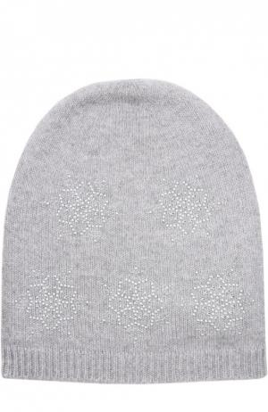 Кашемировая шапка с узором в виде снежинок Colombo. Цвет: светло-серый