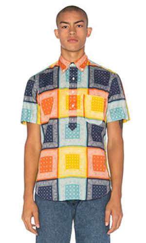 Рубашка с частичной застёжкой Gitman Vintage. Цвет: синий