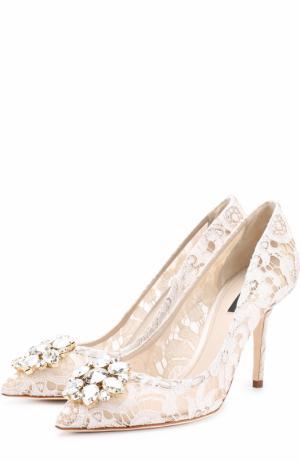 Кружевные туфли Rainbow Lace с брошью Dolce & Gabbana. Цвет: белый
