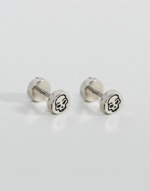 ASOS Серебристые серьги-плаги с черепами. Цвет: серебряный