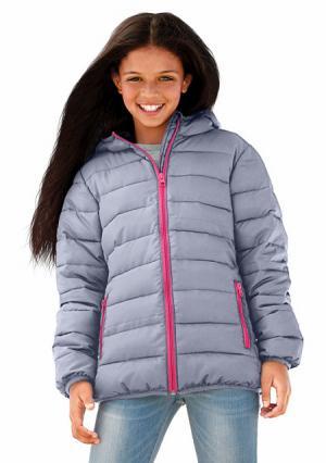 Стеганая куртка Arizona. Цвет: серый, темно-синий, ярко-розовый