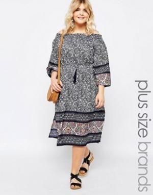 Diya Платье миди с открытыми плечами и боковыми разрезами Plus. Цвет: мульти