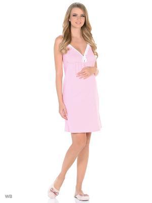 Ночная сорочка для беременных и кормящих FEST. Цвет: розовый, белый